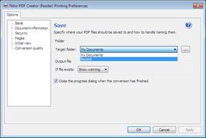 Nitro PDF Creator preferences