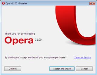 Opera 11 installer options