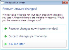 Recover unsaved changes