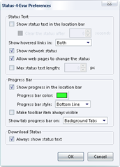 status 4 Evar preferences thumb Bring back Status bar functionality to Add on Bar in Firefox 4 with Status 4 Evar Extension