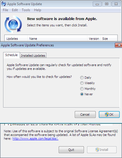 off Apple Software Update's Check for Safari Updates in Windows
