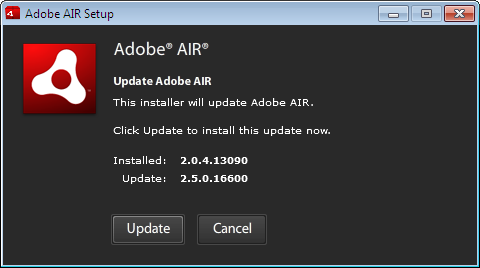 update adobe air windows 10