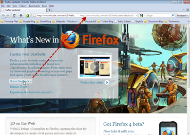 Firefox 4 with no status bar , hovered link shown in address bar