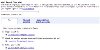 Google Web Search Checklist