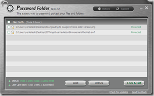 IObit Password Folder allows to password protect files and folders