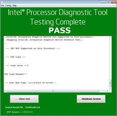 Intel Processor Diagnostic Tool test result
