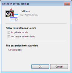 Opera exensions can run on secure connection or in private browsing mode