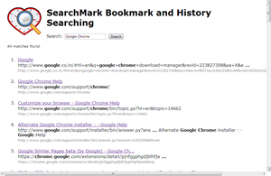 SearchMark allows to search through Google Chrome bookmarks and browsing history