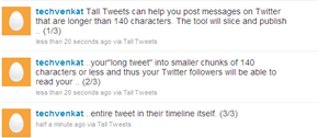 Tall Tweets posted long tweet into small tweets to twitter account