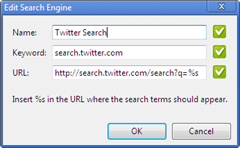 Twitter search engine in Google Chrome
