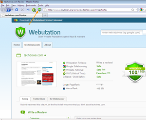 Webutation shows safety information and reputation for websites