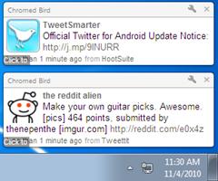 desktop notifications from Chromed Bird Chrome extension