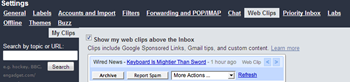 disable Web Clips in Gmail