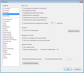disable protected mode in Adobe Reader X