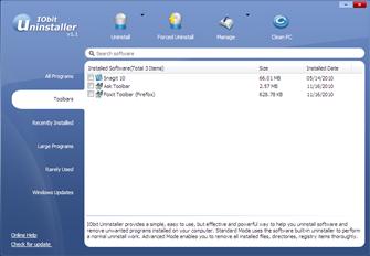 remove toolbars with IObit Uninstaller