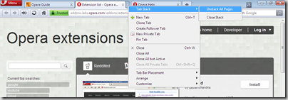 stack tabs in Opera 11
