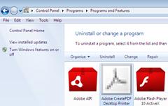 uninstalling or removing Adobe CreatePDF Desktop Printer