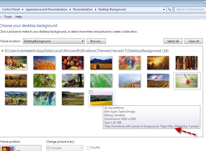 Windows 7 Theme Wallpaper Location Information