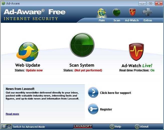 برنامج للحماية التجسس والهكر ad-aware