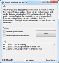 Disable Avira update-ADs with  Antivir AD Disabler