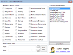 Pin any item to the Windows 7 Taskbar with ease with Windows 7 Taskbar Items Pinner
