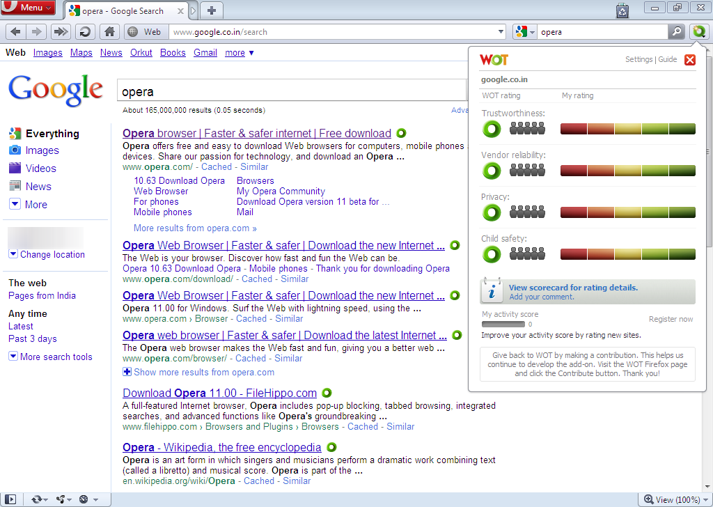 Download Web Of Trust (WOT) Extension for Opera