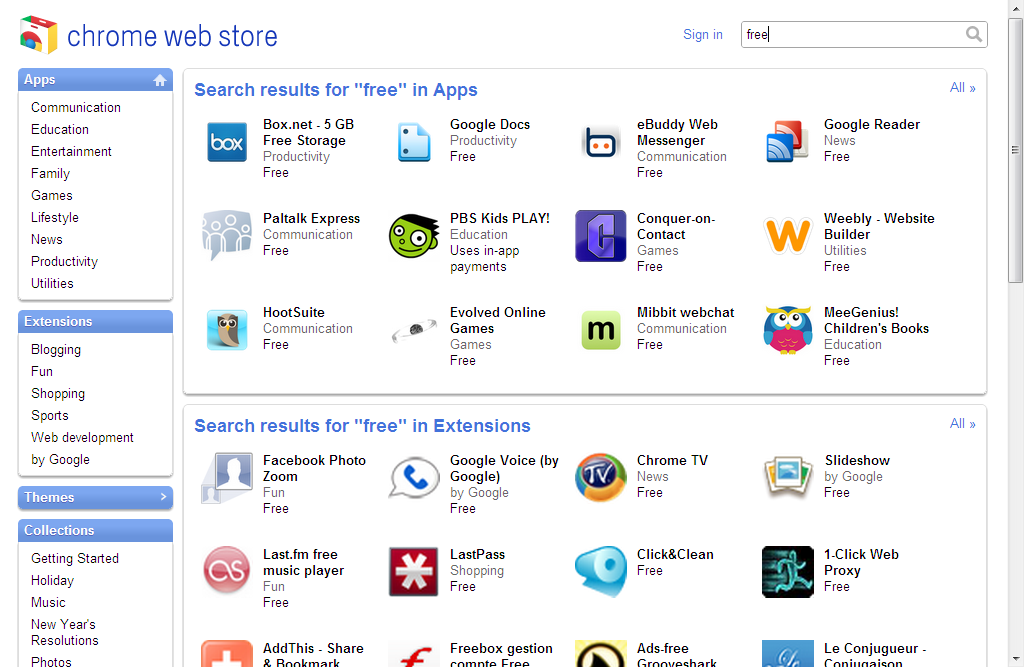 Chrome Web Store Now Available, Try Some Free Apps
