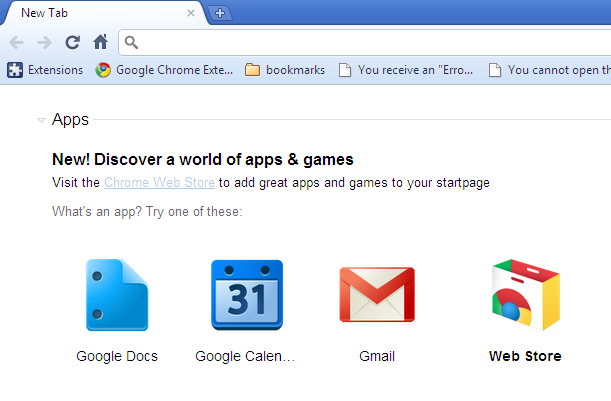 Enable Default Web Apps, new Chrome Web Store Icon on New