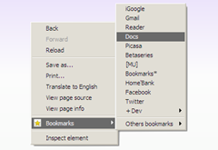 Bookmarks list from context menu