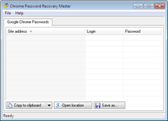 Chrome Password Recovery Master User Interface
