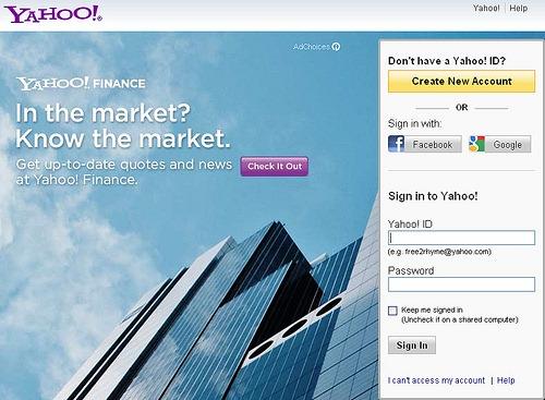 Yahoo registration sign up facebook