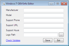 Windows 7 OEM Info Editor