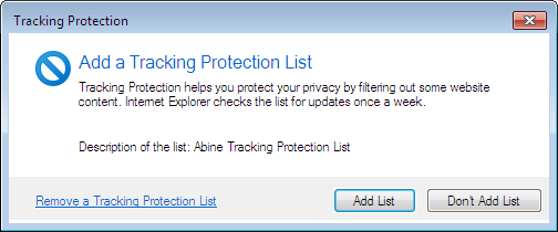 tracking protection list how to add