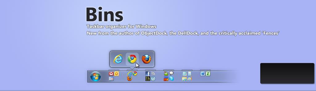 Organizzare ed ordinare la propria barra degli strumenti con bins su Windows 7