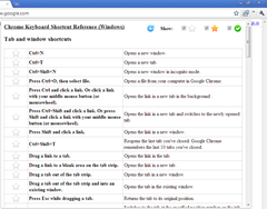 ClickLess, keyboard shortcut reference for Google Chrome