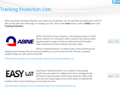 IE9 Tracking Protection lists