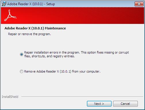 Uninstall Adobe Reader X 10