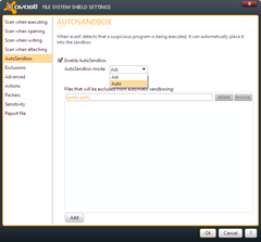 enable AutoSandbox mode in Avast 6