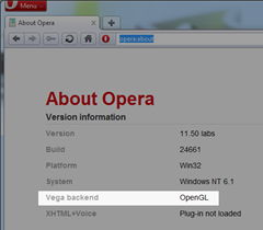 Opera with hardware acceleration enabled