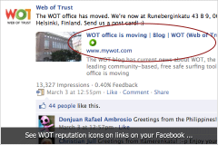 WOT reputation icons for links on Facebook