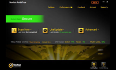Norton Antivirus 2012 user interface