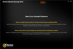 Norton Internet Security 2012 uninstall preference