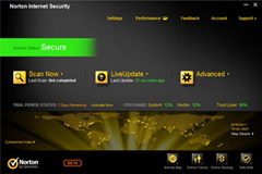 Norton Internet Security 2012 user interface