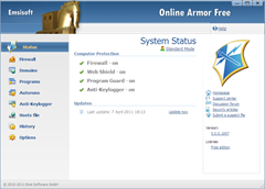 Online Armor Free 5 User interface