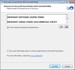 Visual Studio 2010 Uninstall Utility