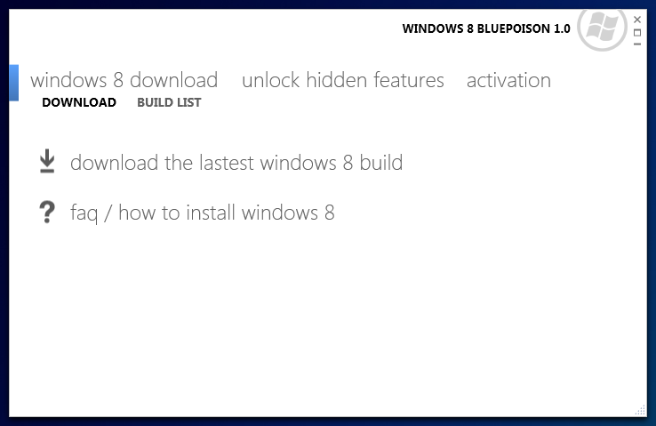 What is windows 8 bluepoison? Wicked sago.