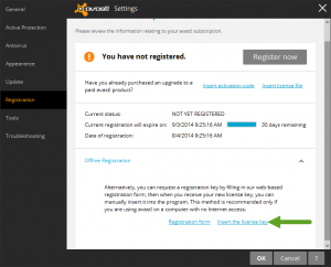 registering Avast and inserting the license key
