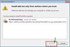 Firefox extension install delay