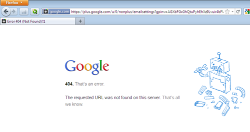 Google Plus 404 Page