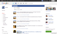 Facebook updates inside Google plus account